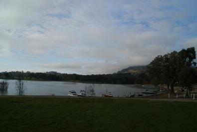 Eildon Weir from Caravan Park at Bonnie Doon