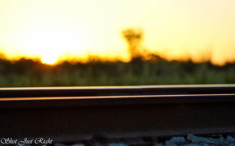 railway in the setting sun