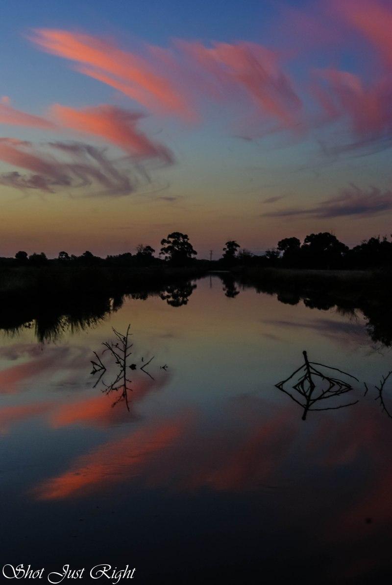 Reflections facing north at Sunset