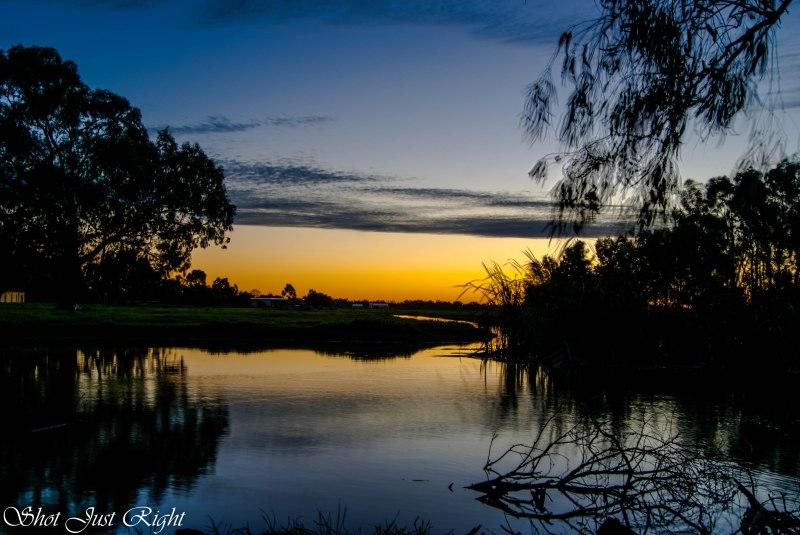 Sunset over a dam last night
