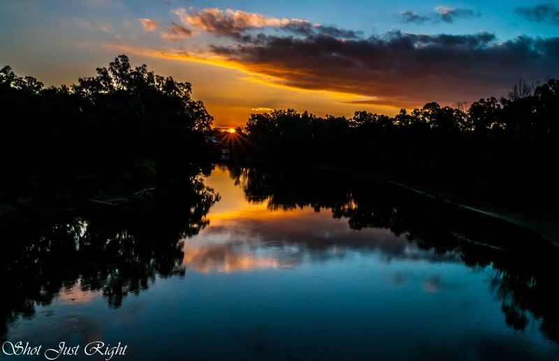 August Sunset from Echuca - Moama Bridge.