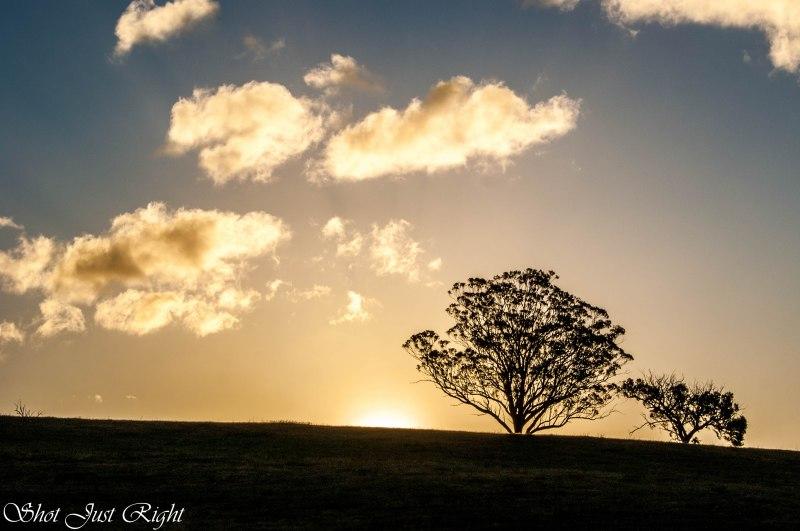 Sun Disappearing behind a hill near Seymour