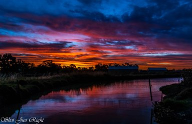Sunset tonight over an Irrigation Channel